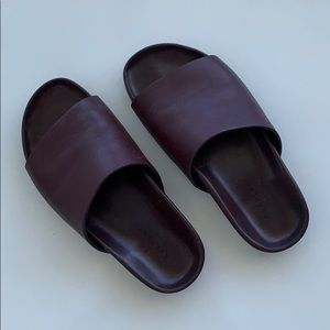 Leather Italian slides sandals